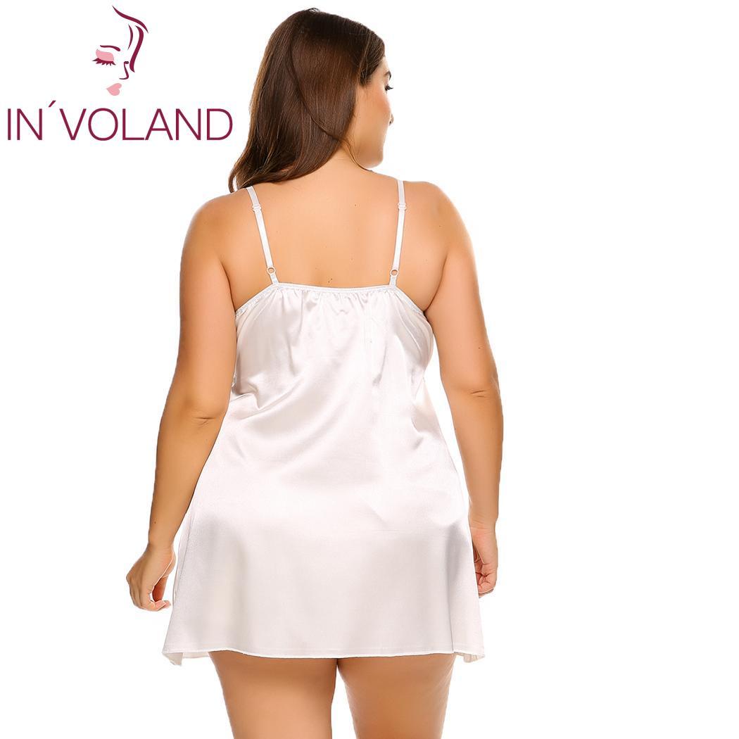 INVOLAND Plus Size Sleepwear Split Lace Satin Chemises Nightgown Solid Spaghetti Strap Home Dress Patchwork Nightwear L-4XL 3