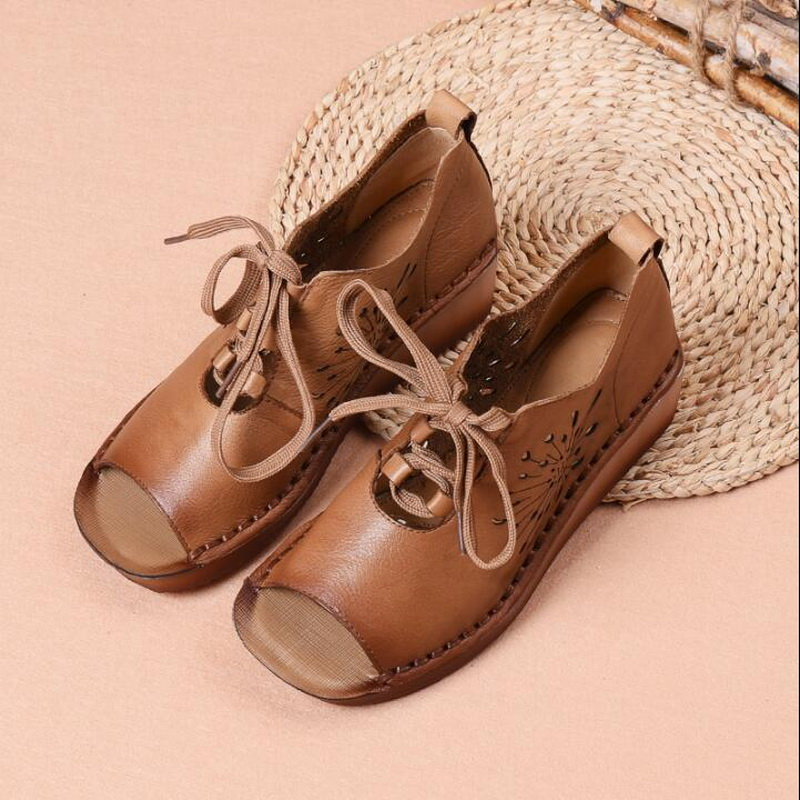 2019 summer new Genuine Leather Gladiator Sandals retro handmade Lace Up Flat Heels Sandals Ladies Casual flat Shoes - 3