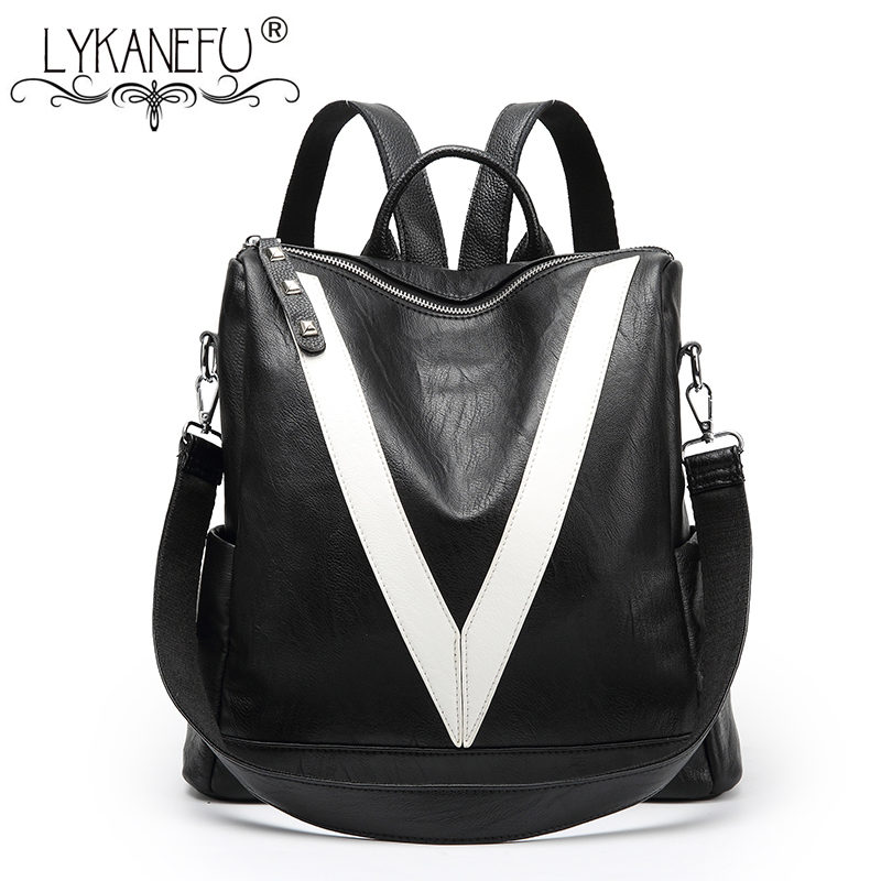 LYKANEFU Preppy Style Women Backpacks Women's PU Leather Backpack Female Teenage Girls Student School Book Bag Sac a Dos Mochila kajie pu skin leather large capacity student fashion women backpacks for teenage girls sac a dos travel feminine bag mochila