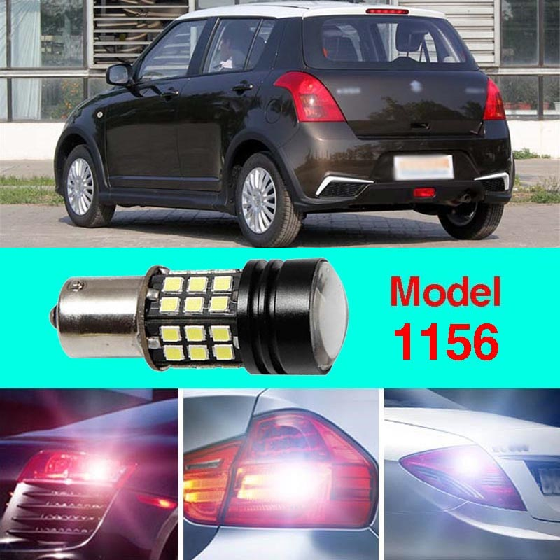 Error Free 1156 Socket 360 Degrees Projector Lens LED Backup Reverse light R5 Chips Replacement Bulb For Suzuki Swift ruiandsion 2x75w 900lm 15smd xbd chips red error free 1156 ba15s p21w led backup revers light canbus 12 24vdc