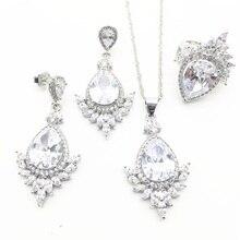 Прозрачный кубический цирконий серебро 925 ювелирные наборы рождественские серьги/кольца/кулон/ожерелье наборы для женщин