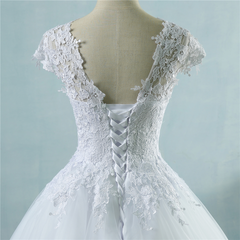 ZJ9085 2016 lace White Ivory Short Sleeve Wedding Dresses for bride ...