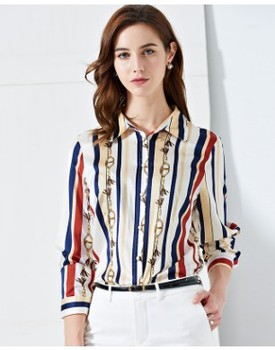 New Spring and Autumn Elastic Satin Blouse with Long Sleeve Silk shirt   2019