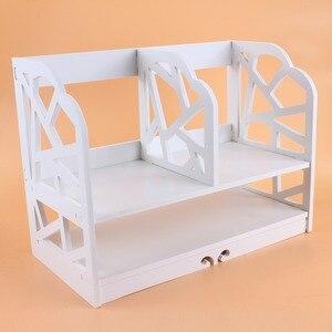 Image 1 - 2 Tiers Diy Rekken Cd Boek Opbergdoos Unit Display Boekenkast Plank Thuis Kantoor Boek Display Opslag Unit Boekenkast Plank