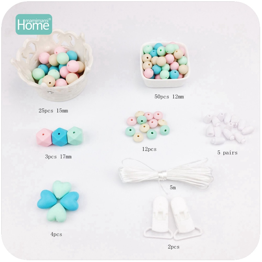 MamimamiHome Baby Toys Accessories 2set Hand Made Pacifier Clip DIY Crafts Nursing Necklace Teething Jewelry Rattle-in Baby Rattles & Mobiles from Toys & Hobbies    3