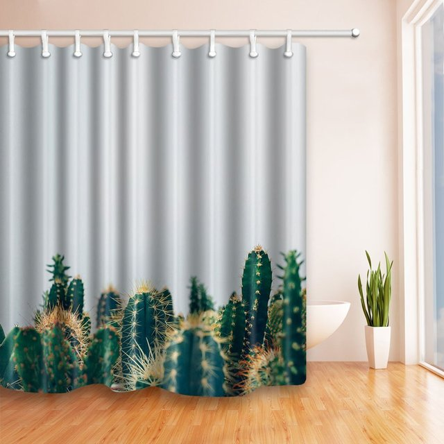 Prickly Pattern Cactus Shower Curtain Mildew Resistant Polyester Fabric Bathroom Fantastic Decorations Bath Curtains