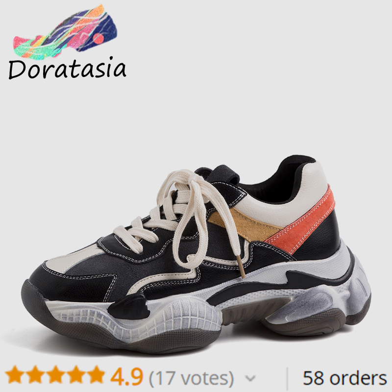 DORATASIA 2019 New INS Hot Sale Autumn Dad Shoes Woman 2019 Genuine Leather Ladies Sneakers lace