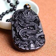Envío de la gota 100% Natural Negro Obsidiana Tallada Dragón Amuleto Colgante Suerte collar de los granos para hombres Moda Joyería Jades