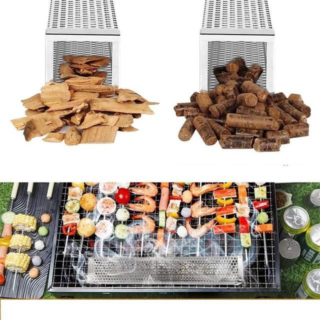 12in Pellet Smoker Tube Stainless Steel Cube Smoker Hot or Cold Smoking Generator BBQ Grill Smoking Mesh Tubes BBQ Accessoires 4