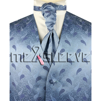 Degli uomini all'ingrosso Suit Tuxedo Dress light blue paisley Gilet e cravatta ascot Set