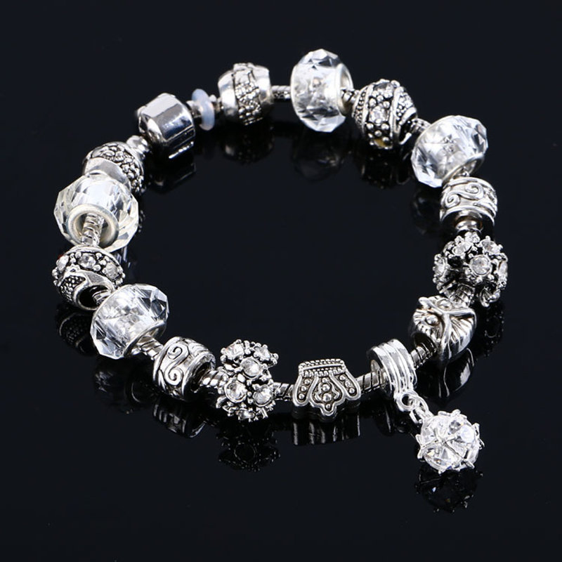 2017 luxury fashion Tibetan Silver Crystal Female sex <font><b>bracelet</b></font> silver jewelry DIY bead jewelry Christmas gift <font><b>pan</b></font> <font><b>Bracelet</b></font> image