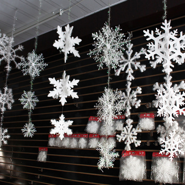 30pcs christmas snowflake window sticker winter wall stickers kids room christmas decorations for home new year - Snowflake Christmas Decorations