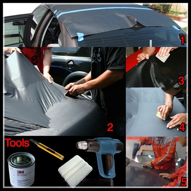 10x127cm Car Body Film 3D Carbon Fiber Vinyl Car Wrap Sheet Roll Car Motorcycle Body Interior Stickers Decal Styling Accessories