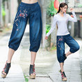 Jeans knickerbockers 2017 mulheres outono étnico bordado do vintage azul denim Bloused calcinhas mais fours Bloomers capris pant