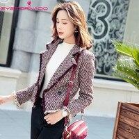 Double breasted lurex tassel tweed wool jacket women autumn casual work slim short basic tweed blends coat outwear E7692