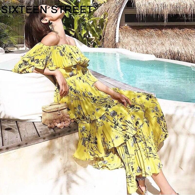 Nouveau slash cou femme robe jaune imprimé floral vintage été plage plissée maxi robe piste en cascade à volants vestidos moulante