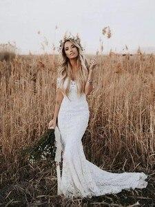 Image 3 - Full Lace Wedding Dress Portrait Mermaid Bridal Gowns 2019 New Custom Made Beach Vestidos De Novia Elegant