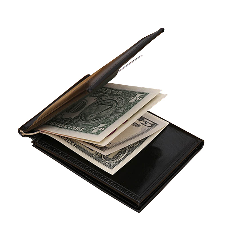 Hot sale Fashion Mens leather Money clip wallet with credit card slots Business short de ...