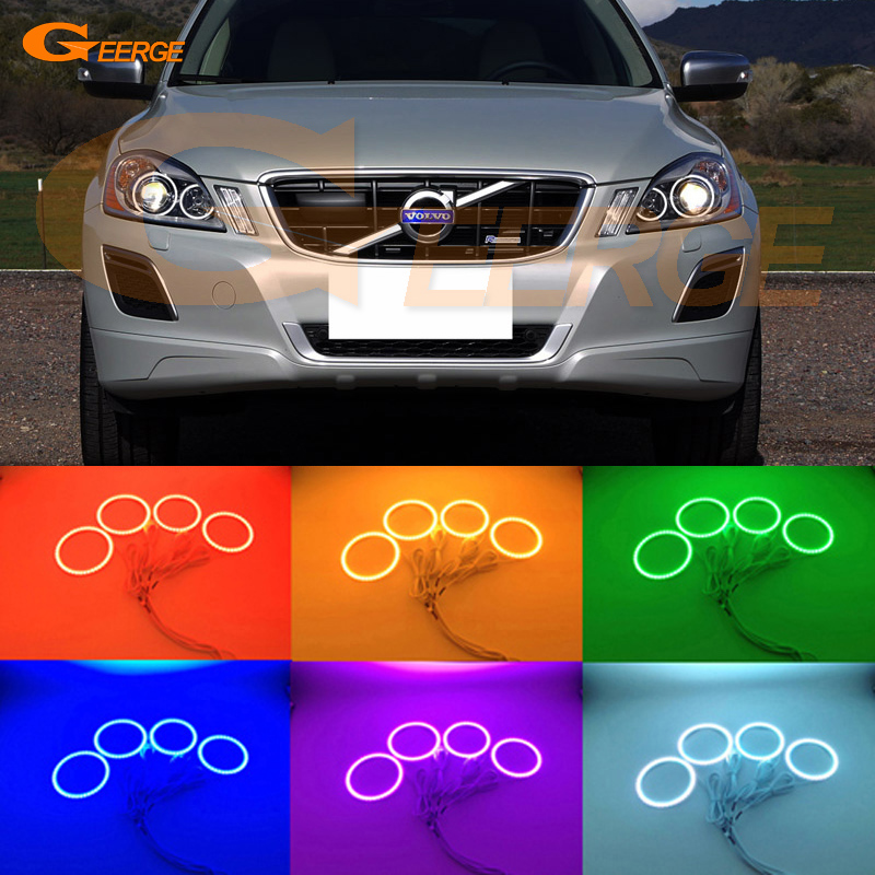 For Volvo XC60 2009 2010 2011 2012 2013 XENON HEADLIGHT Excellent Angel Eyes Multi-Color Ultra bright RGB LED angel eyes kit for lifan 620 solano 2008 2009 2010 2012 2013 2014 excellent angel eyes multi color ultra bright rgb led angel eyes kit