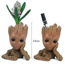 14CM baby Guardians Of The Galaxy Flowerpot Action Figures Cute Model Toy Pen Pot Best Christmas Gifts Kids Hobbies Groot