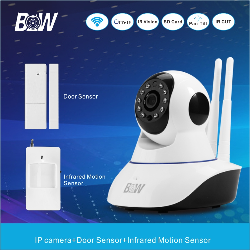 Baby Monitor Surveillance Wireless IP Camera Wi-Fi + Door Sensor/Motion Sensor Onvif WiFi IP Camera Security Alarm BW02D bw wireless wifi door