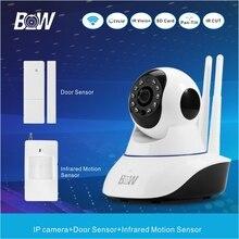Monitor de vigilancia de la cámara ip ir led + sensor de puerta inalámbrico/pir motion sensor wifi cámara de seguridad sistema de alarma de circuito cerrado de televisión bw02d