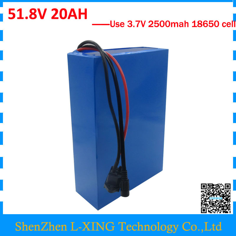 Free customs fee 51.8V 20AH lithium battery 52 V 20AH battery 52V Li-ion battery use 3.7V 2500mah Cell with 30A BMS 2A Charger ebike 24v 52 2ah lithium battery frame triangle li ion battery for pa ncr18650pf cell with free bms and 5a charger