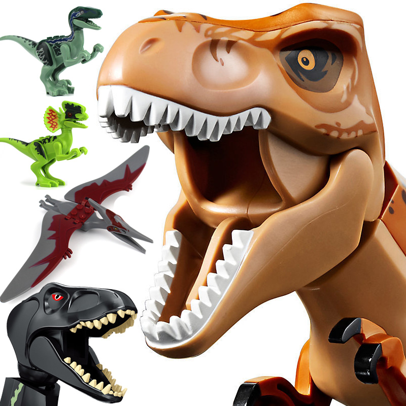 Legoings Jurassic World Park Dinosaur Raptor Pterosaurs Triceratops Model Building Blocks Figures Playmobil Toys For Childrens