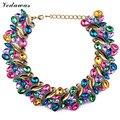 Высокое Качество XG217 Новый Дизайн 2015 Мода Колье Ожерелья Роскошный Лист Заявление Ожерелье многоцветный Кристалл Ожерелье Ювелирных Изделий