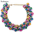 High Quality XG217 New Design 2015 Fashion Choker Necklaces Luxury Leaf Statement Necklaces Multi-color Crystal Necklace Jewelry