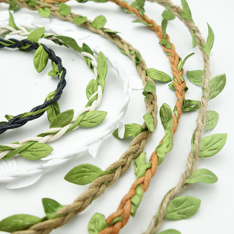 2m DIY Artificial Leaves Twine String With Leaf Silk Leaves Flower Garlands Home Garden/Wedding Party Decoration Fake Flowers