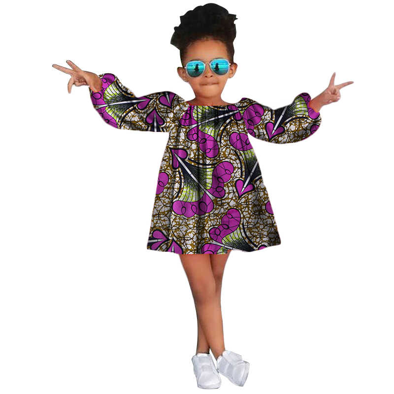 fc1a79780e0 Cute Kids Girl Long Sleeve Dress African Print Children Girls Dresses for  Party Bazin Riche Clothes