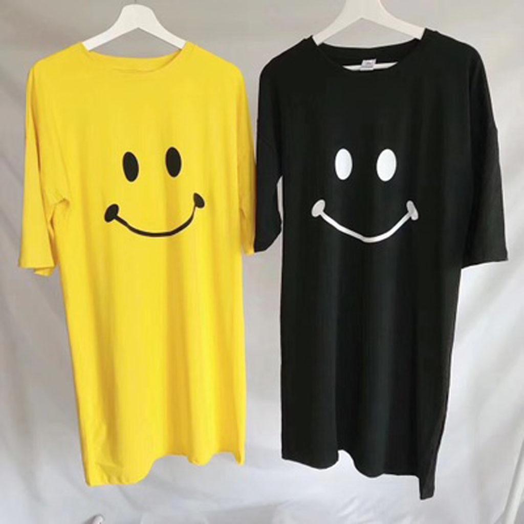 Women Dress Girls'Smiling Face Printed Dresses Women's Sleepwear 2019 Hot Sale Womens Dresses Fashion Korean Ladies Dress
