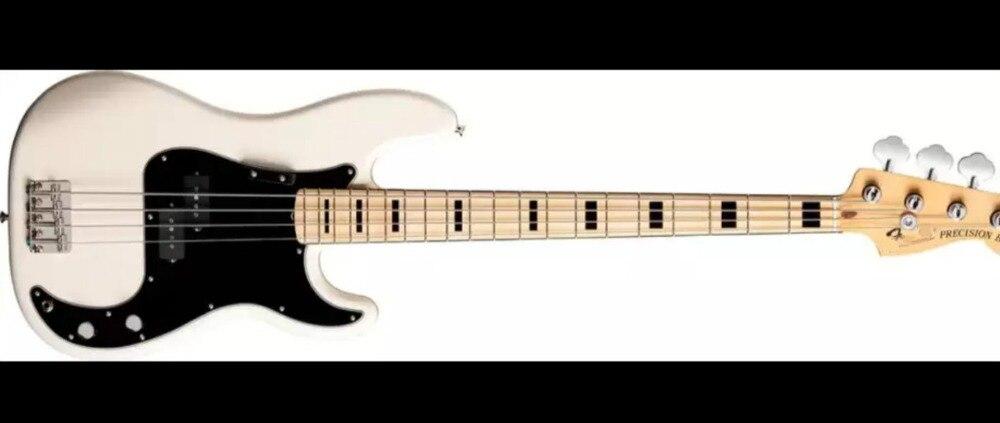 Top qualité FDPB-6004 couleur blanche plaque noire corps solide érable fretboard 4 cordes précision basse guitare, livraison gratuite