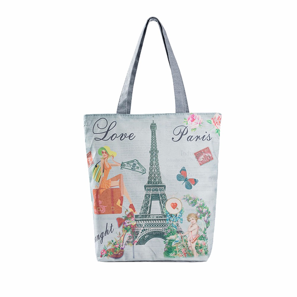 Canvas Women Shoulder Bags Owl Paris Tower Flowers Animals Printed Casual Beach Ping Bag Handbags Bolsa Praia 0718