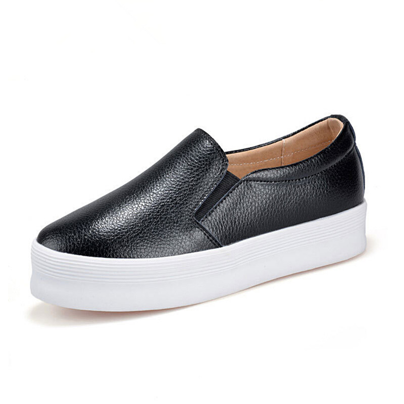 A  fashion women  shoes thick Soles flats Genuine leather loafers female black casual non-slip increasing heels Zapatos Mujer e toy word canvas shoes women han edition 2017 spring cowboy increased thick soles casual shoes female side zip jeans blue 35 40