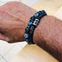 Mcllroy Bracelet men/leather/stone beads/stainless steel/men bracelet friendship mens bracelets 2018 jewelry gift erkek bileklik