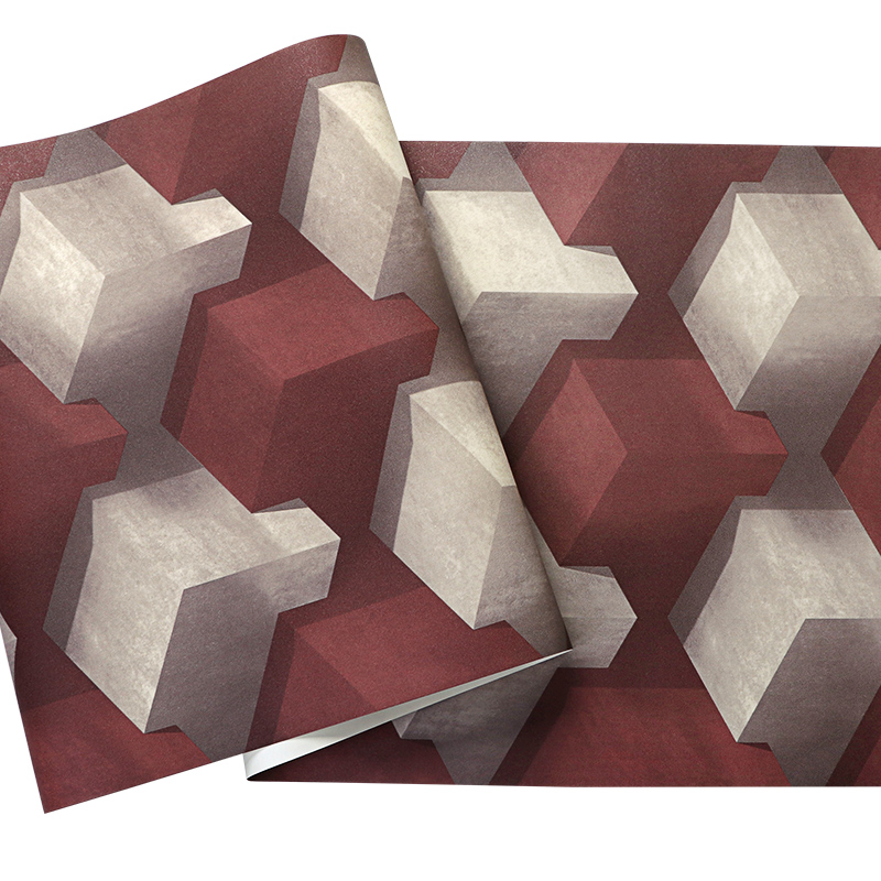 Купить с кэшбэком Abstract Geometric Square 3D Wall Papers Home Decor Grey Blue Personalized PVC  Wall Paper Roll for KTV Room Walls vinilo pared