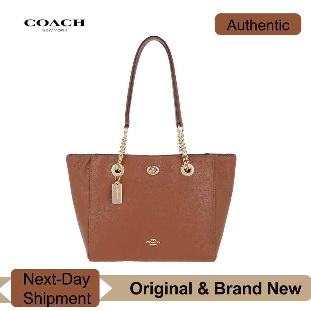 ba1470113 Detail Feedback Questions about Coach Turnlock Chain Tote 27 in Polished  Pebble Leather (1941 Saddle/Gold) Luxury Handbags For Women Bags Designer  by Coach ...