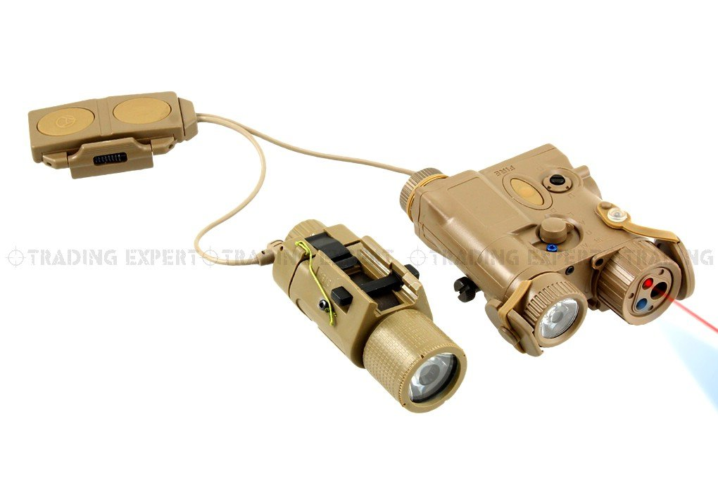 AN/ PEQ-16A + SU-233 Flashlight & Laser Combo Set (Tan) подствольный оружейный фонарь element peq 16 illumunator an peq 16a