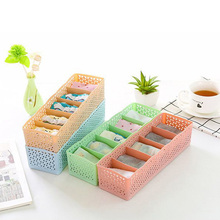 5 Gird Plastic Underwear Organizer Bra Socks Storage Box Drawer Cosmetic Divider Tidy Candy Color Home Organizers