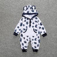 White And Black Red Newborn Infant Boys Girls Autumn Winter Hooded Romper Baby Boy Cartoon Long