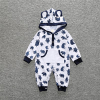 White And Black Red Newborn Infant Boys Girls Autumn Winter Hooded Romper Baby Boy Cartoon Long