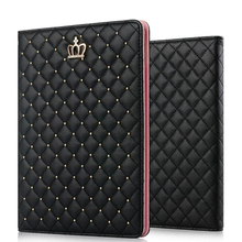 Luxury Diamond Bling Leather Stand Case For iPad Mini 1 2 3 Crown Pearl Plaid Fo