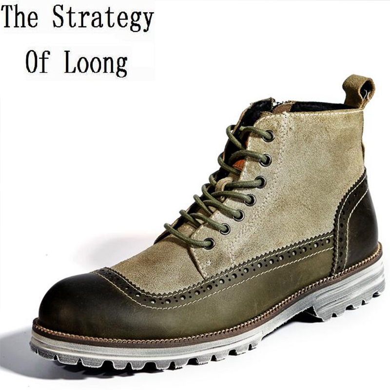 Men Spring  Autumn Full Grain Leather Ankle Boots Geauine Leather Fashion Lace Up Men Martin Boots Casual  Boots 0107 free shipping men s fashion mixed colors western ankle boots full grain leather england style motorcycle boots for men