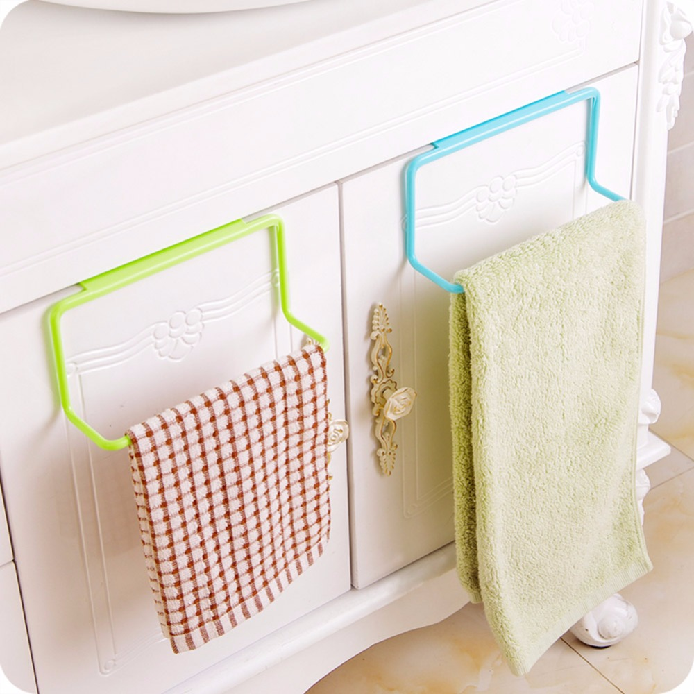 Towel Rack Hanging Holder Cupboard Kitchen Cabinet Bathroom Towel Rack Sponge Holder Wardrobe Cabinet Storage Racks for Bathroom