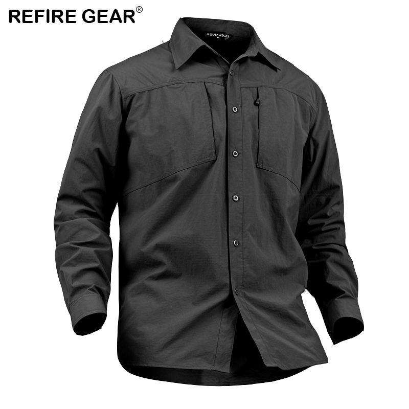 ReFire Gear Mens Hiking Outdoor Shirt Spring Summer Breathable Camping Hunting Shirt Man Solid Quick Dry Long Sleeve Shirts