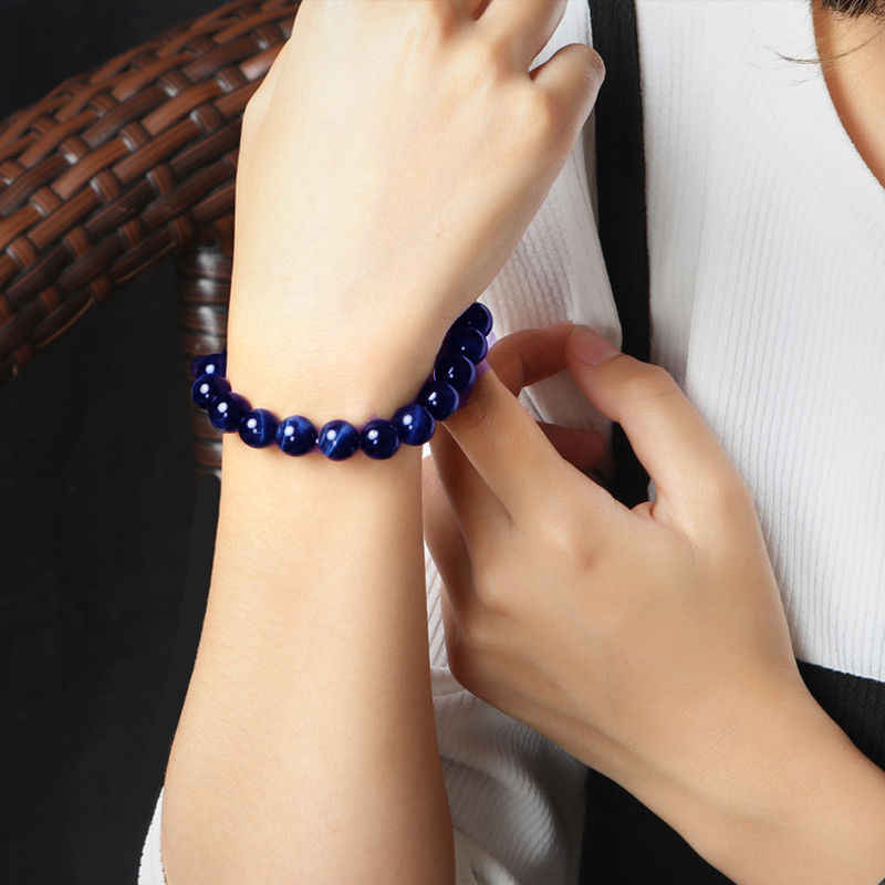 Lapis Lazuli naturale Blu Occhio di Tigre di Pietra Borda I Braccialetti per Le Donne e Gli Uomini di Stirata Rotonda Paio Braccialetto Dei Monili di Alta Qualità