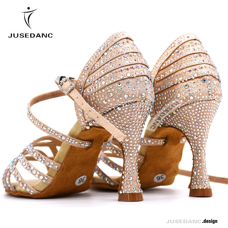 Women Salsa Dance Shoes Latin Ballroom Shoes Latin Dance Shoes Girl Skin Black Color Full Rhinestone Tango Party Shoes 9cm