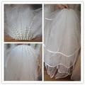 Branco noiva véu de multi-camada véu de noiva pérola princesa plugue gordura cinto de Duas camadas véu véu de Noiva 2016